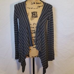 Timing Women Drape Open Front Stripped Cardigan